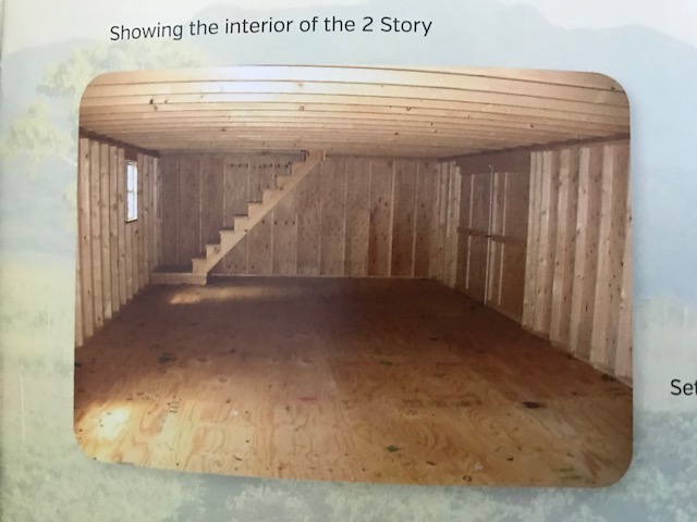 INterior of 2 story barn